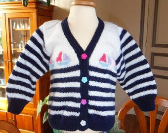 Sailor Style vest with small boats - 18 months girl