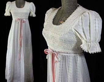 Candi Jones Maxi Dress, Smocked Bodice, See Thru Lace, Vintage Wedding, Boho Chic