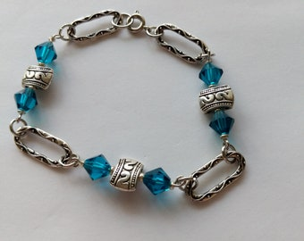 Blue and Silver Chain and Link Bracelet