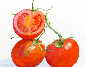 Vegetable Art Print, Tomato Artwork,  Sale, Kitchen Wall art, Decor Red, Fruit, still life, Kitchen artwork, Watercolor, Fruit, LaBerge Sale