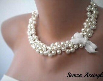 Clothing Gift, Necklace, Handmade Weddings Jewelry ,Bridesmaids Gifts ,1950's inspired Pearls