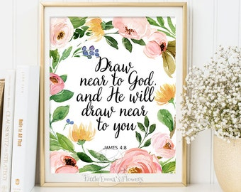 Scripture etsy christian home decor scripture print wall decor nursery decor draw near to god and he will draw near to you print bible verse print 6 22 m4hsunfo
