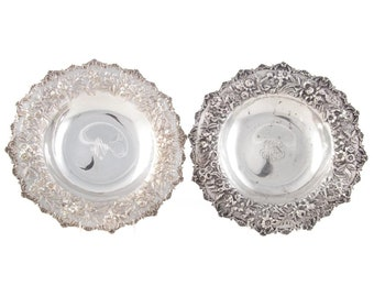 Pair of Kirk Repousse Sterling Vegetable Bowls