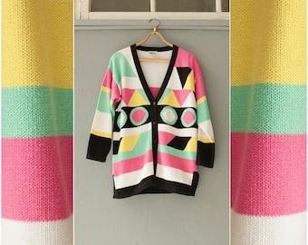 Vintage 80s Cardigan Colorblock Sweater Womens Medium Oversize Cardigan Black White Pink Green Yellow Striped Sweater Pastel Cardigan Size M