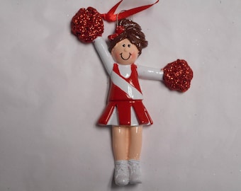 Red and White Cheerleader Personalized Christmas Ornament