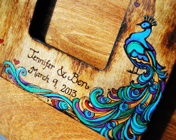 Rustic Wedding or Baby Album or Guest Book Alternative with Personalized burned engraving and Peacock theme - Choose your Theme