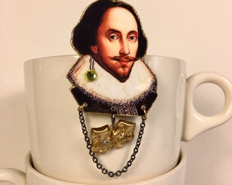 William Shakespeare Brooch poet playwright actor The Bard  Hamlet, Othello, King Lear, Macbeth