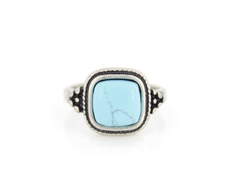 Lovely Vintage Retro Silver-tone Blue Natural Turquoise Stone RING,Size 8