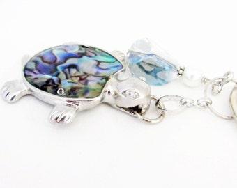 Turtle Keychain, Beach Keychain, Sea Turtle Keychain, Car Accessories, Abalone Shell, Paua Shell Keychain, Tropical Keychain,