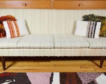 Vintage 1970's MCM Danish Modern Couch Sofa Sleeper Teak armrests Tapered Legs
