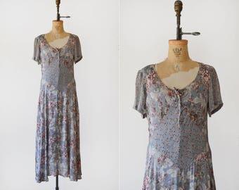 1990s Grey Floral Patchwork Maxi / vintage grunge floral maxi dress