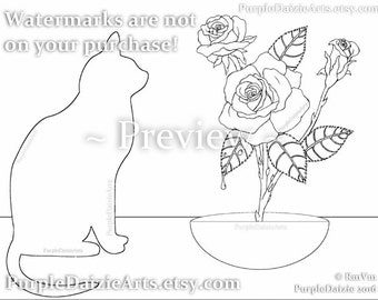 Adult Coloring Page ZenDoodle Kitty Cat Template Printable Roses Colour Digital Color Art Sheet Flowers Line Drawing JPEG Instant Download