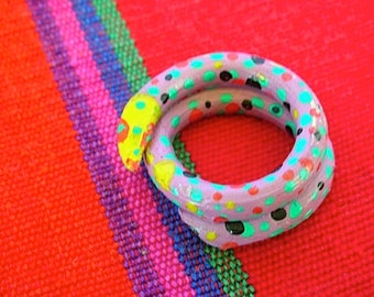 Vintage Mexican Painted  Snake Ring Coiled Wood from Oaxaca 1980-90