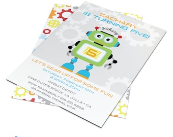 Robot Invitation | Robots | Robot Invite | Robot Birthday | Robot Birthday Party | Custom Printable