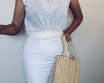 90s structured linen skirt