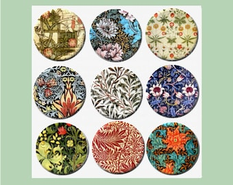 William Morris collage sheet - 1 inch circles - floral pattern digital collage with William Morris floral prints - Instant download