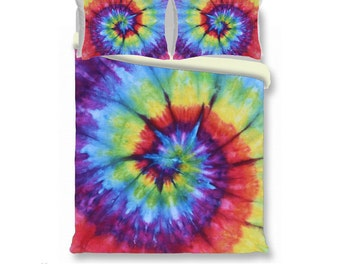 Duvet Cover-Comforter Cover-Tie Dye Bedding -Rainbow Spiral-Blanket Cover-King Queen Full Twin