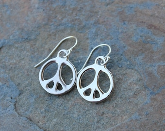 Silver peace sign earrings - rhodium plated pewter peace sign charms on sterling silver french hooks - free shipping USA