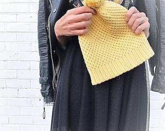 Handknit hat woman yellow wool cotton melbourne australia quality knitwear
