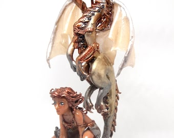 Steampunksilver and copper dragon and woman figurine