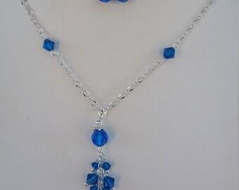 Capri Blue Crystal Necklace Beaded Jewelry Swarovski Crystals Wedding Prom Jewelry