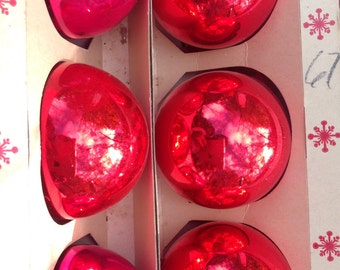 Set of 4 Vintage Red Mercury Glass Christmas Ball Ornaments Holiday Decorations Home Decor Red Christmas Tree Decorations