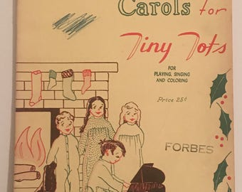 1944 Christmas Carols for Tiny Tots for playing singing and coloring music book