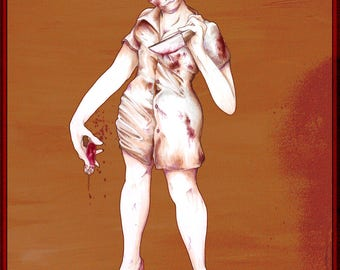 Welcome to Silent Hill (Bloody Nurse) - 8x10 or 11x14 Print - Silent Hill Fan Art