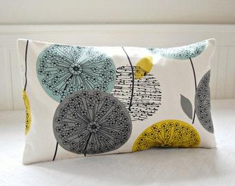 decorative throw pillow cover blue teal grey mustard yellow, 12 X 20 inch lumbar dandelion sofa cushion cover