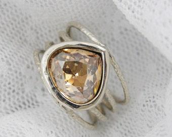 CHAMPAGNE Swarovski crystal & Sterling silver ring (sr-9963)