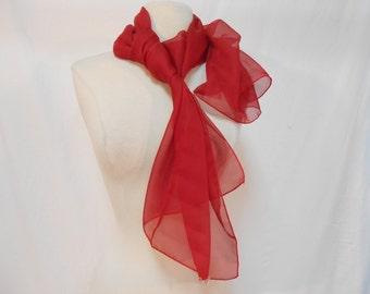 "Crimson Red Semi Sheer Chiffon Long Scarf/ 59 x 19.5"""