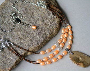 Tan, Peach and Brown Three Strand Boho Style Gemstone and Pearl Pendant Necklace