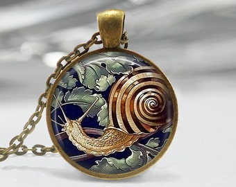 Snail Art Pendant, Snail Shell Art Necklace, Snail Jewelry, Slug Art Pendant, Snail Art, Snail Art Portrait, Mollusk Art, Bronze Silver, 097