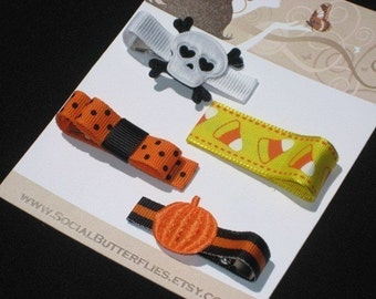 Halloween Hair Clips - Buy 3 Items, Get 1 FREE, pumpkin hair clip, skull hair clip, toddler hair clip, hair clippies candy corn hair clip