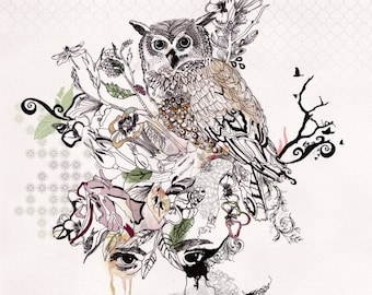 Watercolor Owl Painting, Archival Print of Owl Artwork, Nature Modern Wall Art, Owl Drawing