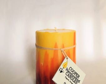 "4"" Tall Quince Scented Round Pillar Candle - Red, Orange, Yellow - Ombre"