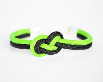 Neon lime green and black infinity knot nautical cord bracelet