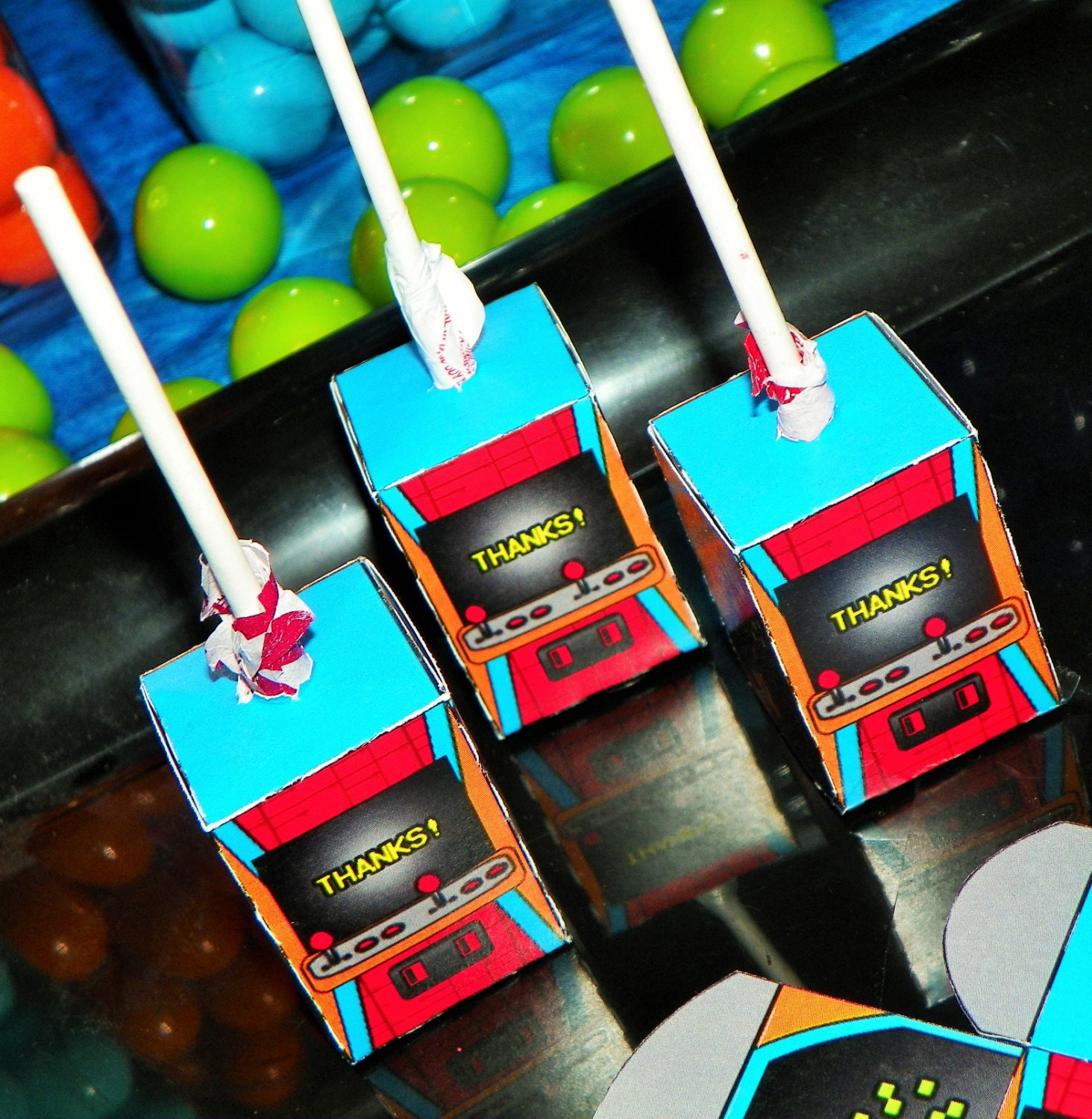 Video game birthday party lollipop boxes arcade party favors Free play home decoration games