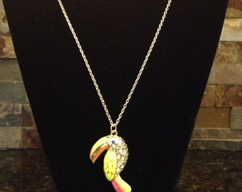 Toucan Bird Tropical Pendant Style Necklace with Long Gold Chain Great for Kids and Adults