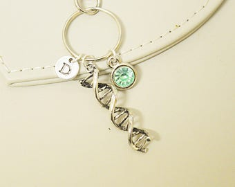 DNA Keyring, Science Keychain, Chemistry Gify,  Biology Gift, biochemistry, molecular, Doctor, Nurse Gift, Blood Gift, Double Helix DNA
