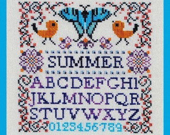 Cross Stitch Instant Download Pattern Mini Summer Sampler! Counted Embroidery Chart Whimsical Alphabet Letters Initials Monogram X Stitch