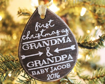 First Christmas As Grandma & Grandpa Ornament - Hand Drawn, New Grandparents, Grandparent Gift, New Baby Ornament, Christmas Gift