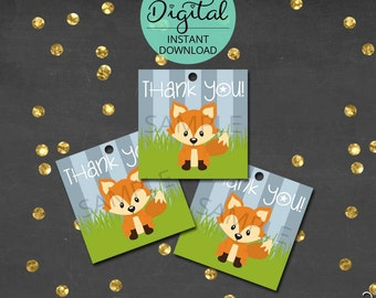 Woodland Thank You Tags, Thank You, Woodland animals, Woodland Birthday, Woodland Baby Shower, Printable Tags,  INSTANT DOWNLOAD #6421