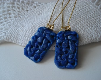 Vintage Carved Lapis Lazuli Bohemian Glass Gold Earrings