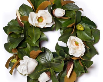 "Magnolia Wreath w/ White Blossoms 24"" (SW316)"