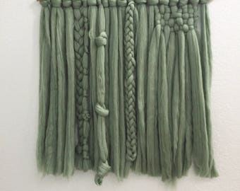 RUSH   Ivy Green Roving Woven Wall Hanging