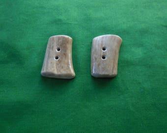 2 flat button toggle deer antler lot 61