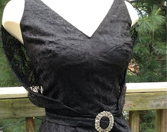 Vintage Black Lace Cocktail Dress LBD Wiggle Dress