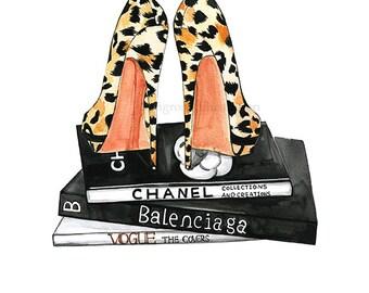 Fashion illustration,Leopard heels fashion art,Fashion wall art,Fashion watercolor art,Fashion Poster,Girly wall art,Dressing room art