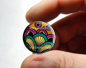 Glass Cabochon - Art Deco Floral Design 2 - for Jewelry and Pendant Making